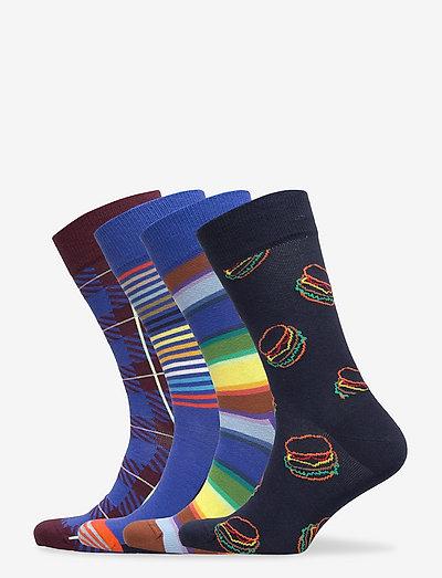 4-Pack Navy Socks Gift Set - skarpety crew - multi