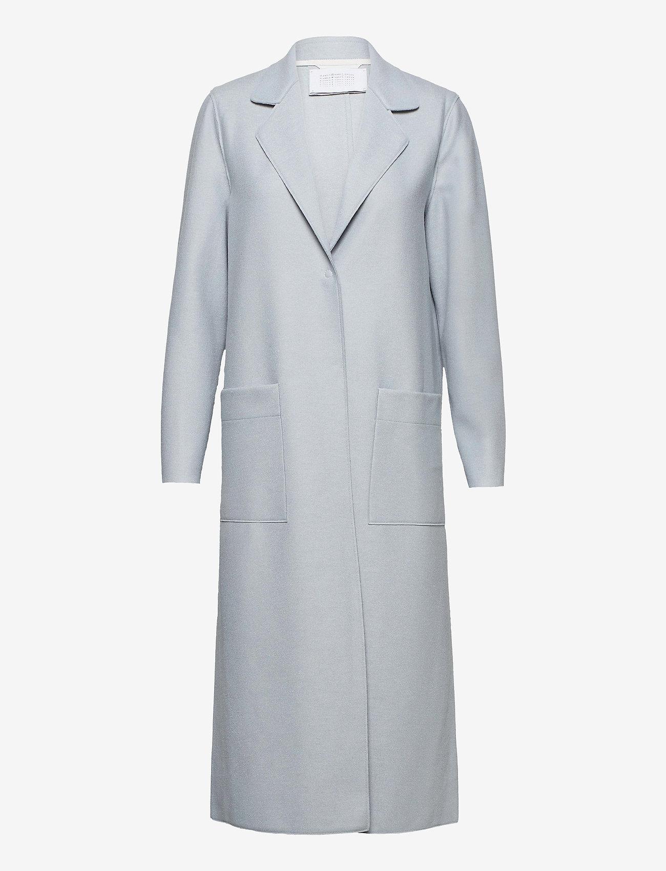Harris Wharf London - Women Long Boxy Coat With Patch Pockets Light P. Wool - wollmäntel - grey blue - 0
