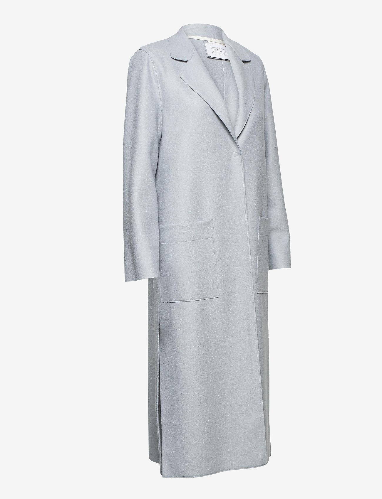 Harris Wharf London - Women Long Boxy Coat With Patch Pockets Light P. Wool - wollmäntel - grey blue - 2
