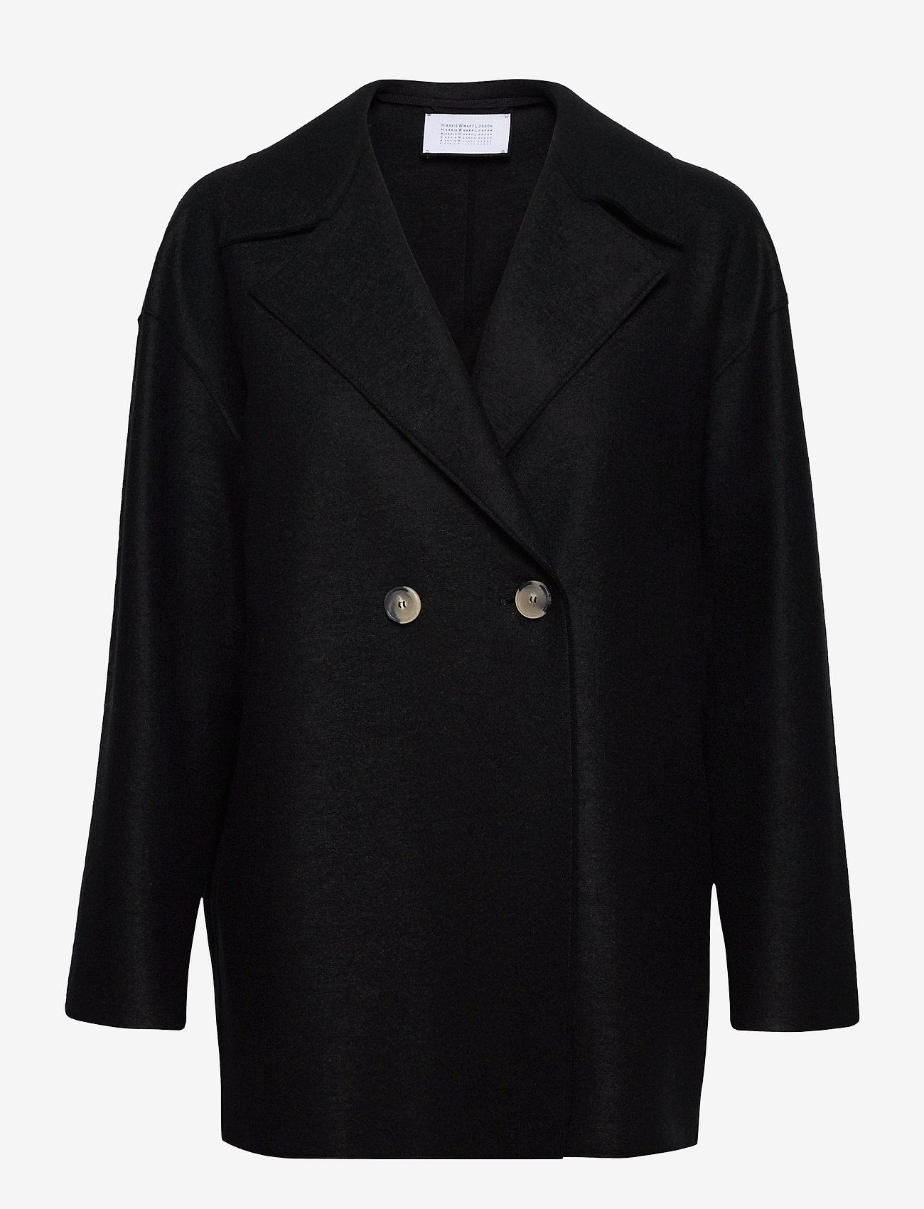Harris Wharf London - Women Dropped Shoulder D. B. Jacket Light Pressed Wool - jacken - black - 0