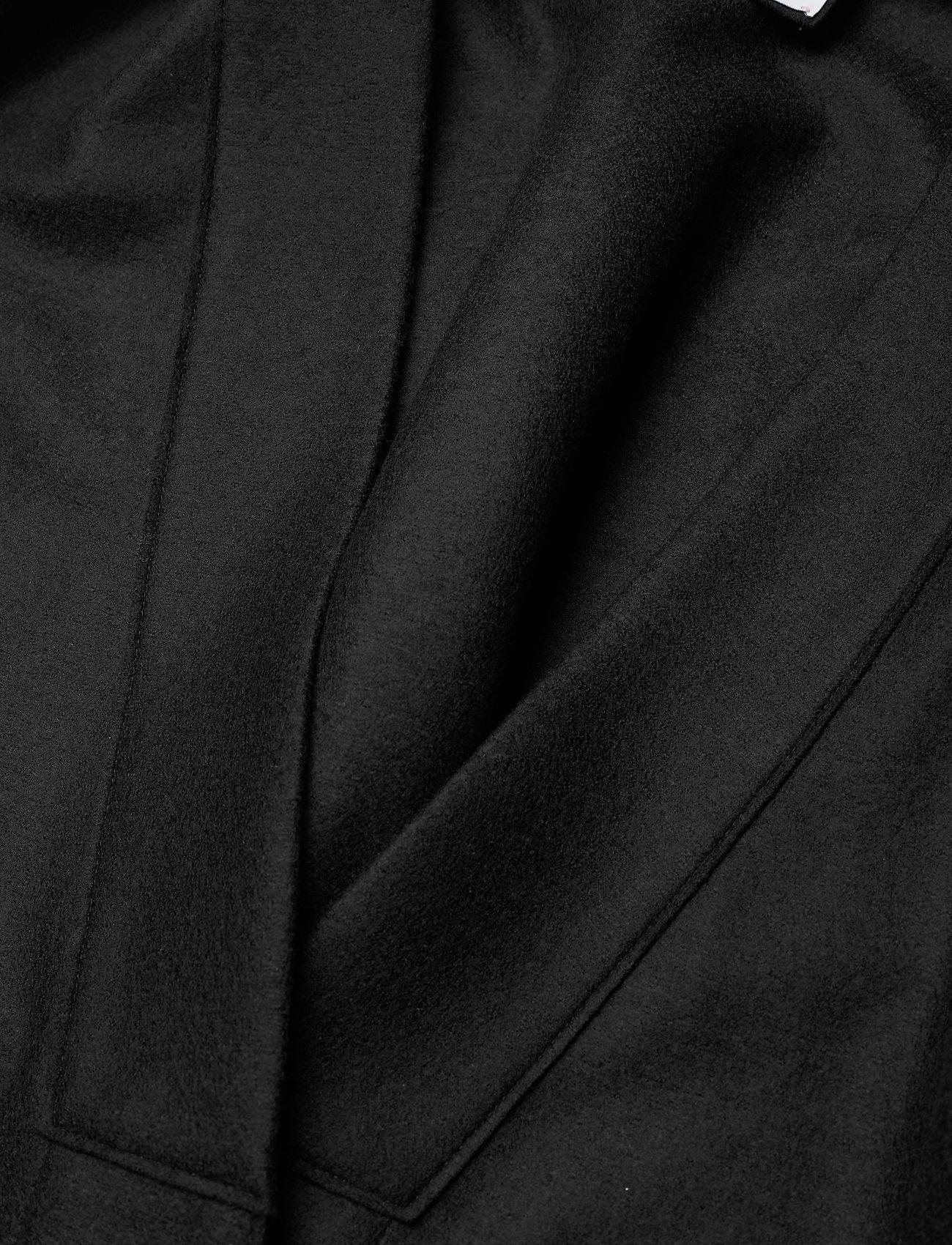 Harris Wharf London - Women Kimono Coat With Vents Light Pressed Wool - wollmäntel - black - 2