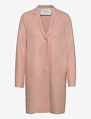 Women Cocoon Coat Light Pressed Wool - POWDER ROSE