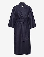 Women Kimono Coat With Vents Light Pressed Wool - NAVY BLUE