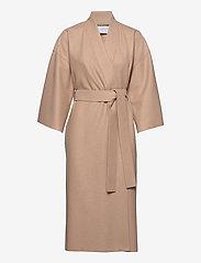 Women Kimono Coat With Vents Light Pressed Wool - SAND