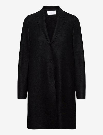 Women Cocoon Coat Light Pressed Wool - uldfrakker - black
