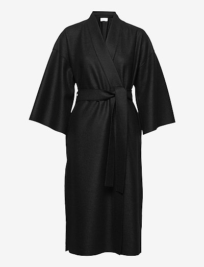 Women Kimono Coat With Vents Light Pressed Wool - wollmäntel - black