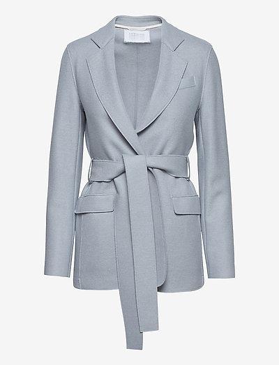 Women Belted Blazer Light Pressed Wool - blazer - grey blue