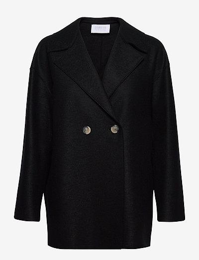 Women Dropped Shoulder D. B. Jacket Light Pressed Wool - jacken - black