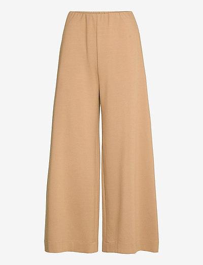 Women Wide-Leg Cropped Trousers Techno Viscose - hosen - tan