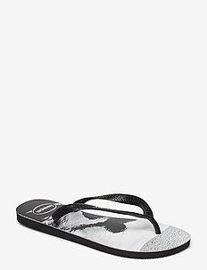 Hav Top Photoprint - klapki - black/white 4058