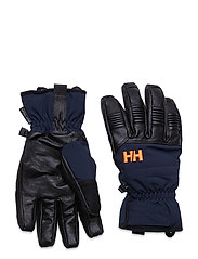 LEATHER MIX GLOVE - NAVY