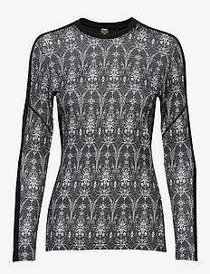 W HH LIFA MERINO GRAPHIC CREW - tops - black / frost print