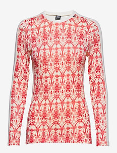 W HH LIFA MERINO GRAPHIC CREW - tops - flag red / frost print