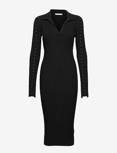 SLASH DRESS.STRETCH - midi-kleider - black