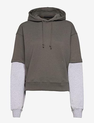 LAYERED HOODIE.COLOR - sweatshirts & hoodies - slate