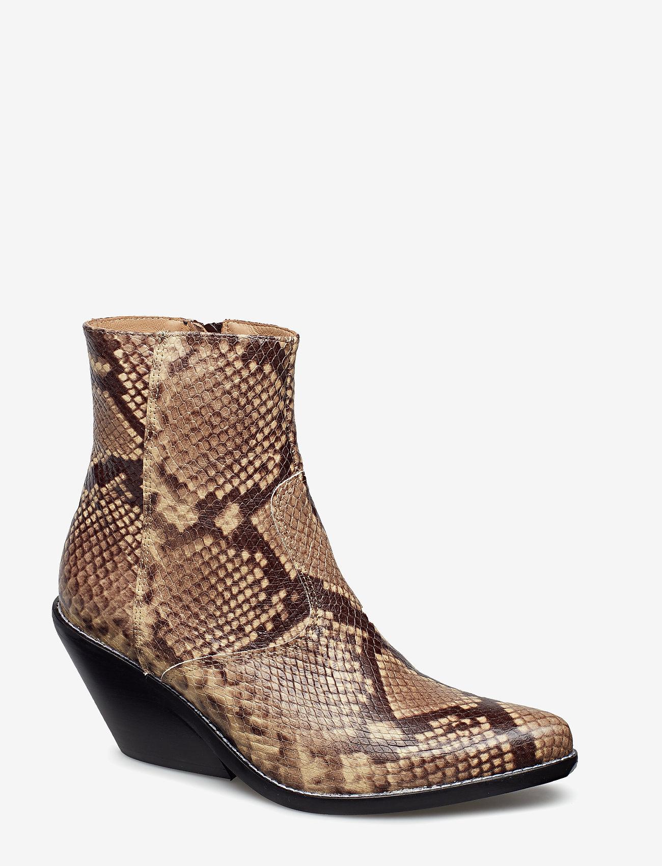 Henry Kole - Evie Snake Brown - ankelstøvler med hæl - brown - 0