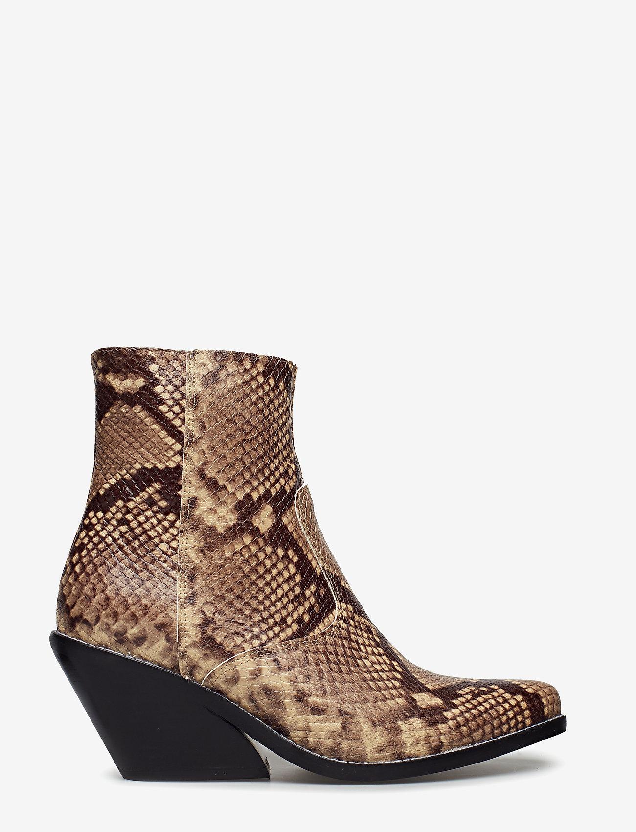 Henry Kole - Evie Snake Brown - ankelstøvler med hæl - brown - 1