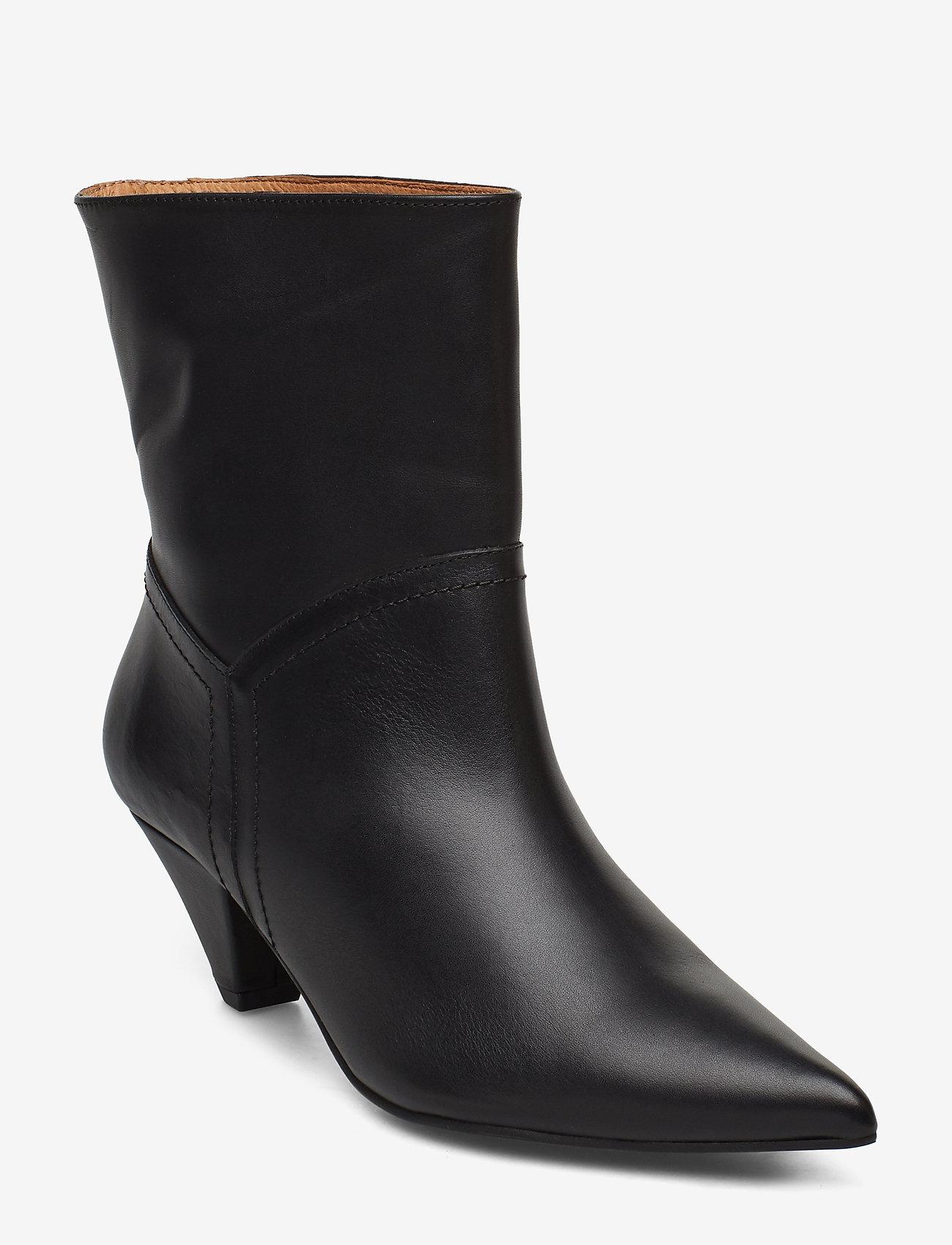 Henry Kole - Selena Leather Black - ankelstøvler med hæl - black - 0