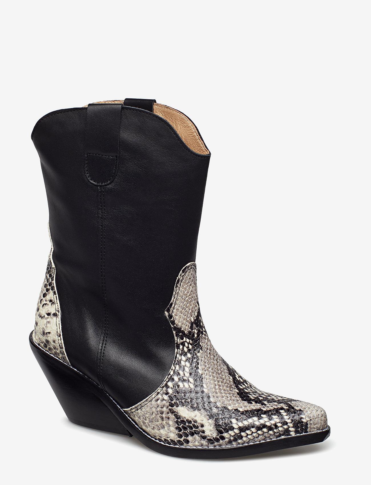 Henry Kole - Livia X Snake Grey - ankelstøvler med hæl - grey - 0