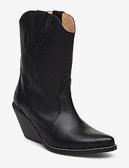 Henry Kole - Livia Leather Black - ankelstøvler med hæl - black - 0