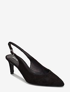 Lisa Suede Black - sling backs - black