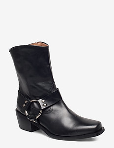 Hazel Leather Black - ankelstøvler med hæl - black