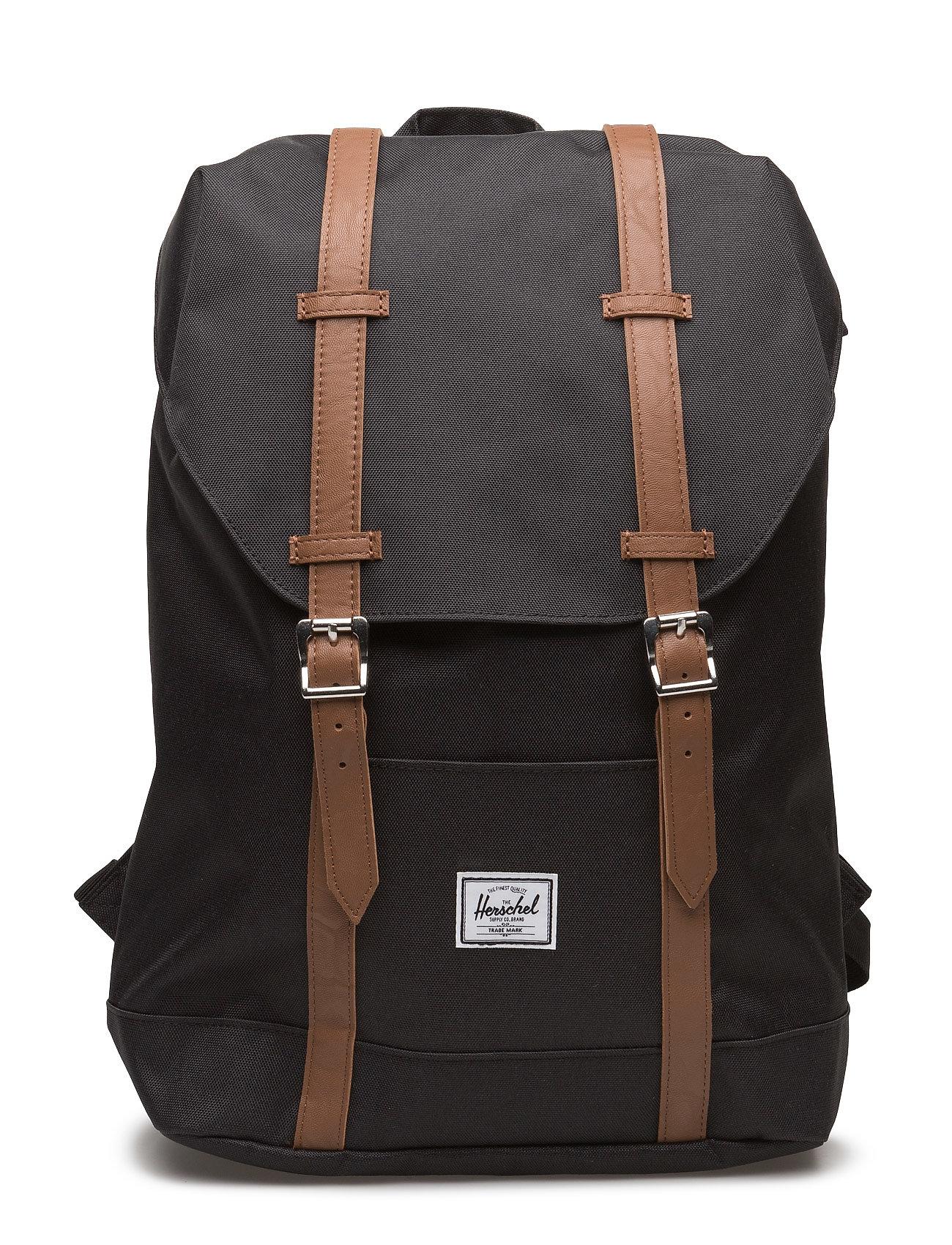 HERSCHEL Retreat Mid-Volume - Black/Tan Synthetic Leather Rucksack Tasche Schwarz HERSCHEL