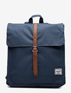 City Mid-Volume - backpacks - navy/tan synthetic leather