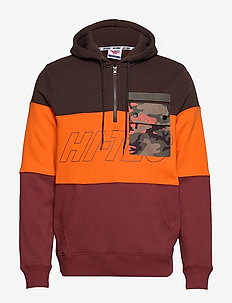 HT LEEPER - hoodies - dark brown/mandarin/oxblood