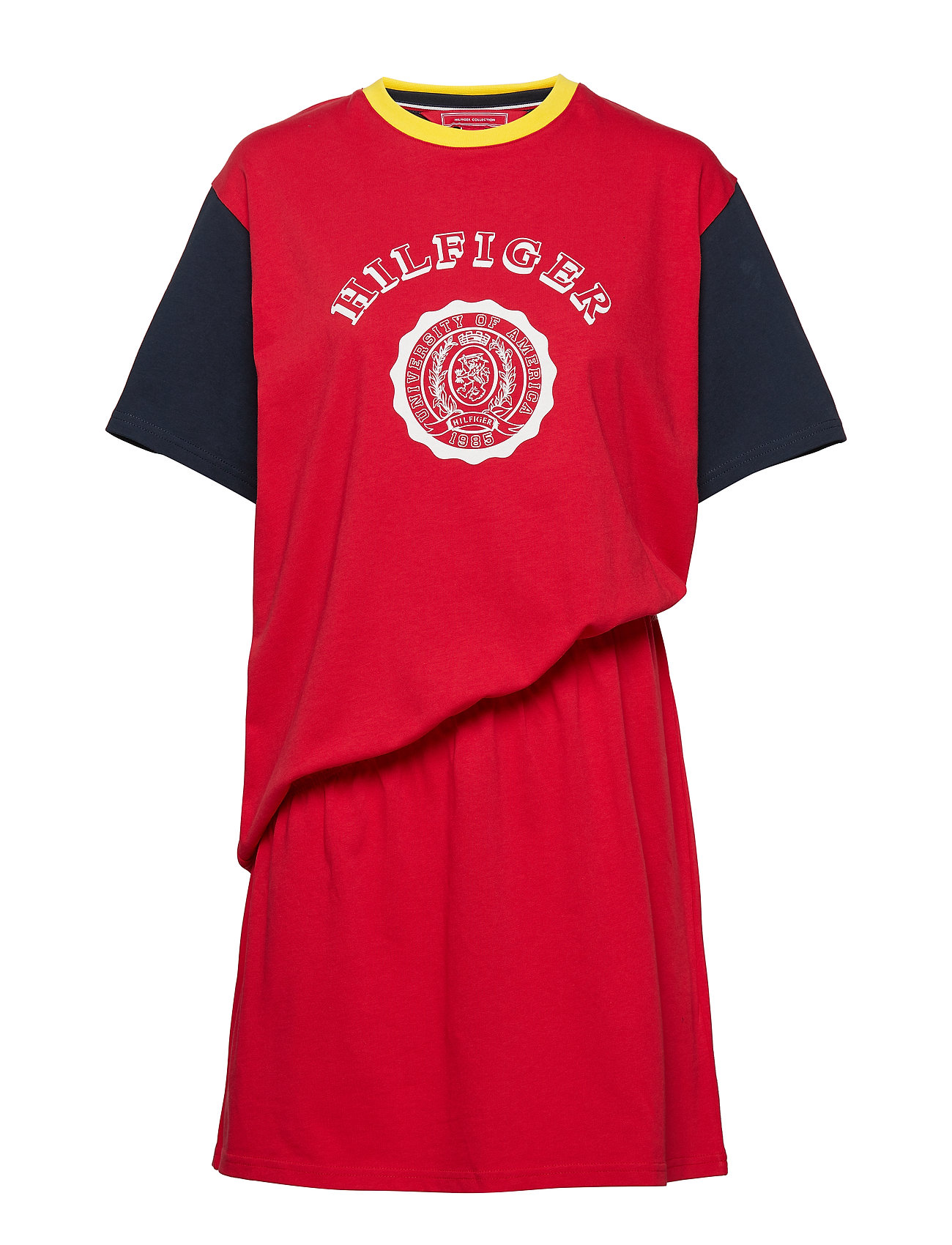 Hilfiger Collection RUCHED TSHIRT DRESS, - TRUE RED / MULTI