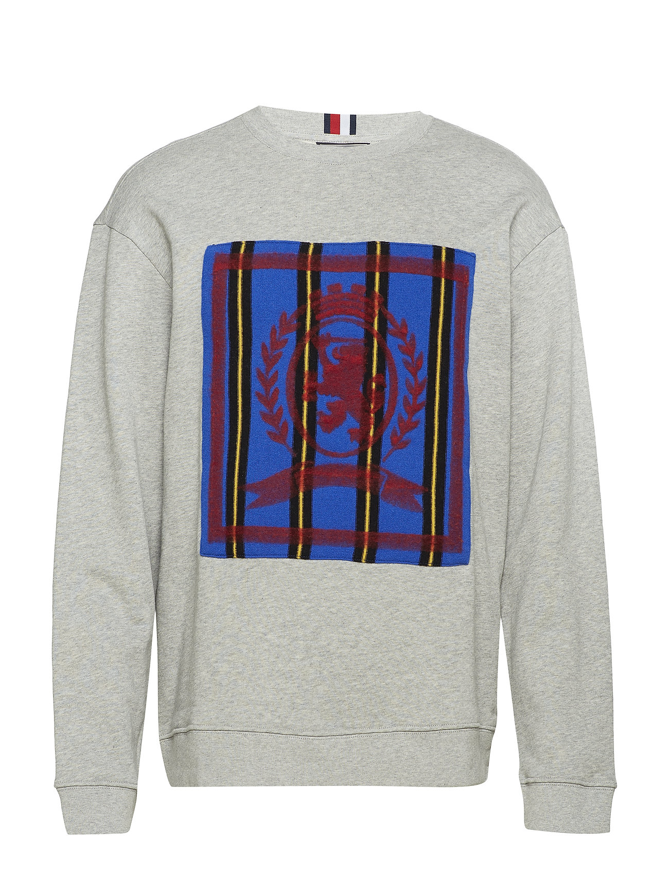 Hilfiger Collection HC CREST NEEDLE PUNCH SWEATSHIRT - SILVER FOG HEATHER