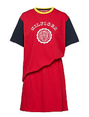 RUCHED TSHIRT DRESS, - TRUE RED / MULTI