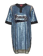 SEQUINED BASEBALL SHIRT DRESS SS - FOREVER BLUE / MULTI