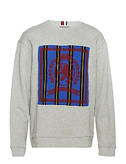 HC CREST NEEDLE PUNCH SWEATSHIRT - SILVER FOG HEATHER