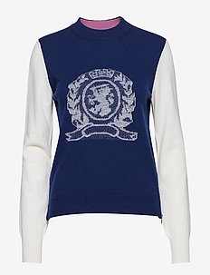 CREW NECK CREST SWTR LS - jumpers - deep well multi