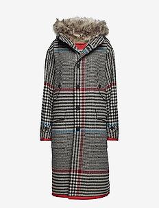 LONG HOODED COAT - wool coats - barbados cherry