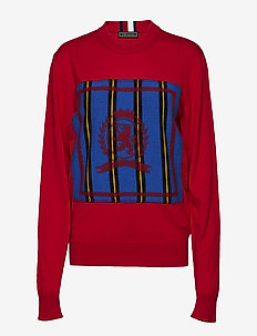 HC CREST NEEDLE PUNCH SWEATER - BARBADOS CHERRY