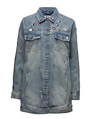 THDW LONG OVERSIZED JACKET REMIBL - REBEL MID BLUE RIGID