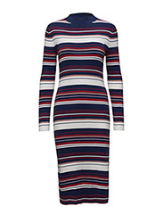 THDW STRIPE TN DRESS L/S 41 - MEDIEVAL BLUE / MULTI