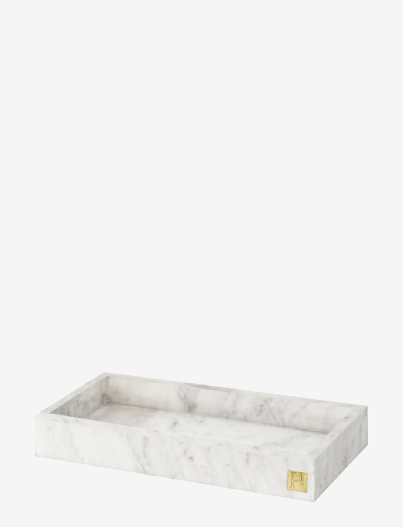 Hilke Collection - Marbletray with logo - dekorative fat - marble/brass - 0