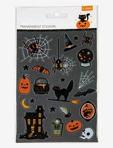 HALLOWEEN TRANSPARENT STICKERS 3-SHEETS (6) - festartiklar - multi colour