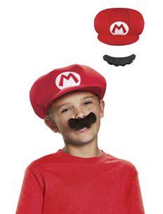 MARIO CHILD HAT AND MUSTASCH - costume accessories - multi colour