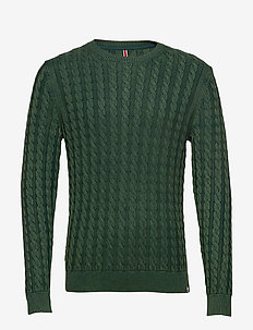 HKT WASHED CABLE CREW - 675DARK GREEN