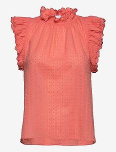 Essie - sleeveless blouses - coral