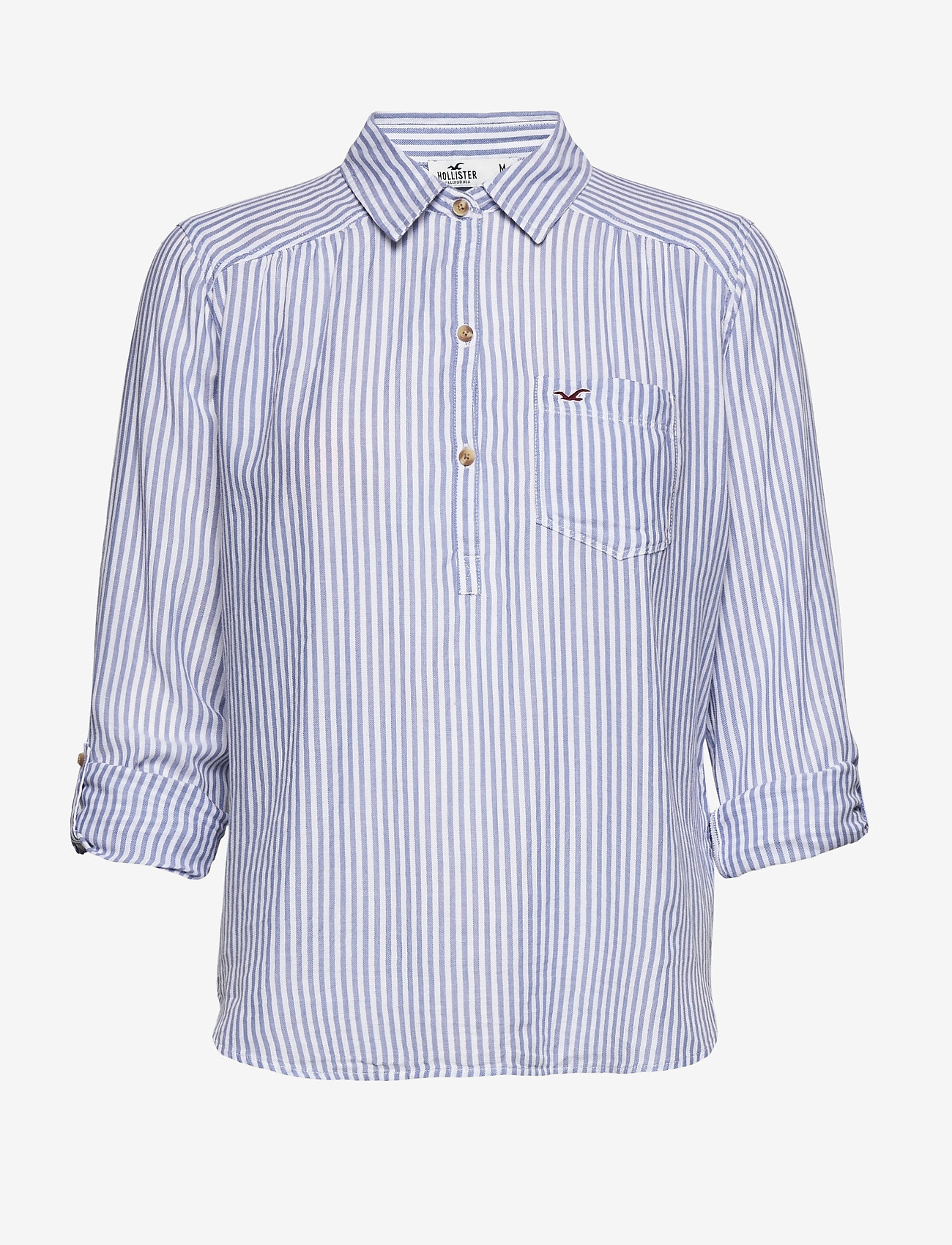 Hollister - POPOVER - chemises à manches longues - blue stripe - 1
