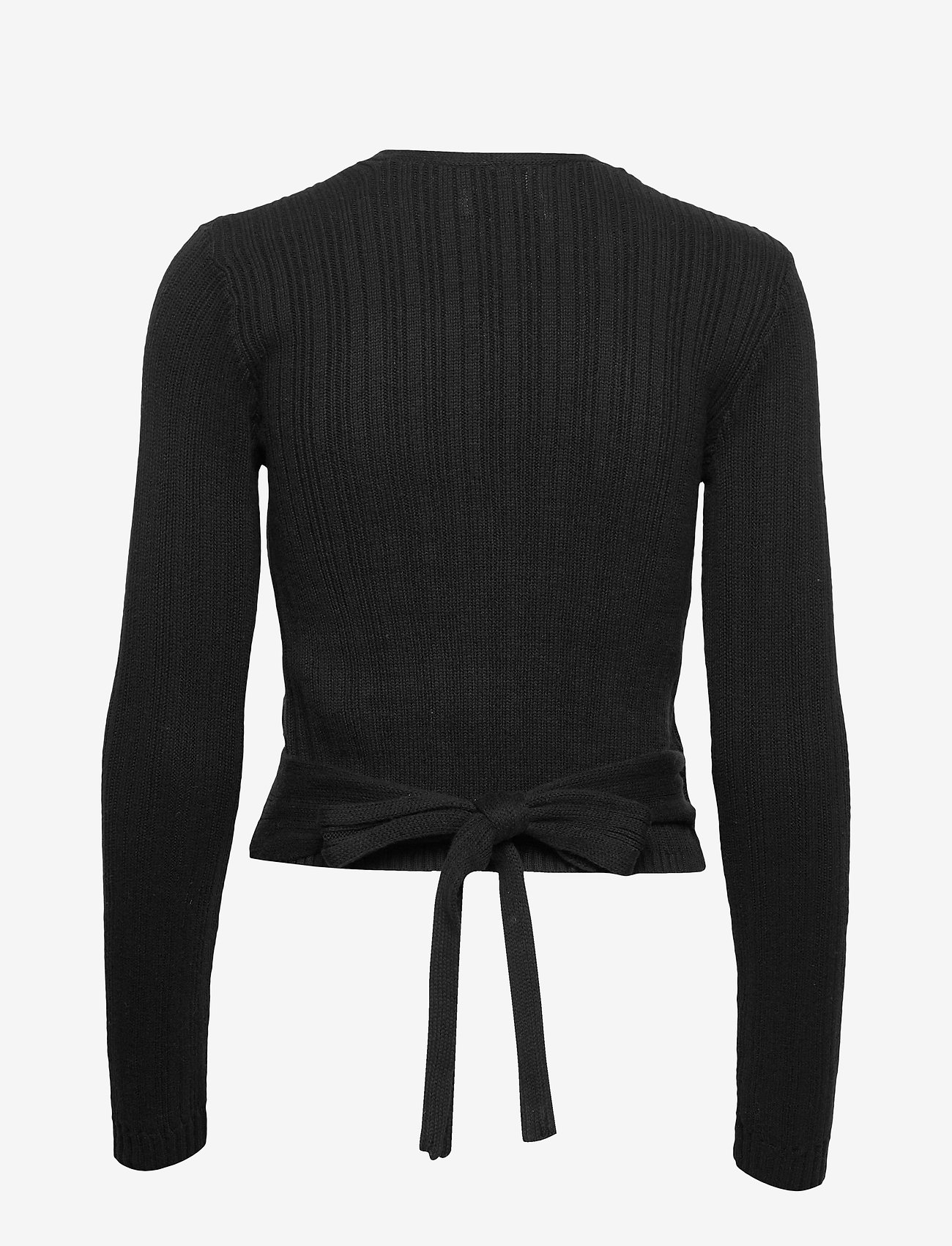 Hollister Tie Back Wrap Sweater - Strikkevarer BLACK DD - Dameklær Spesialtilbud
