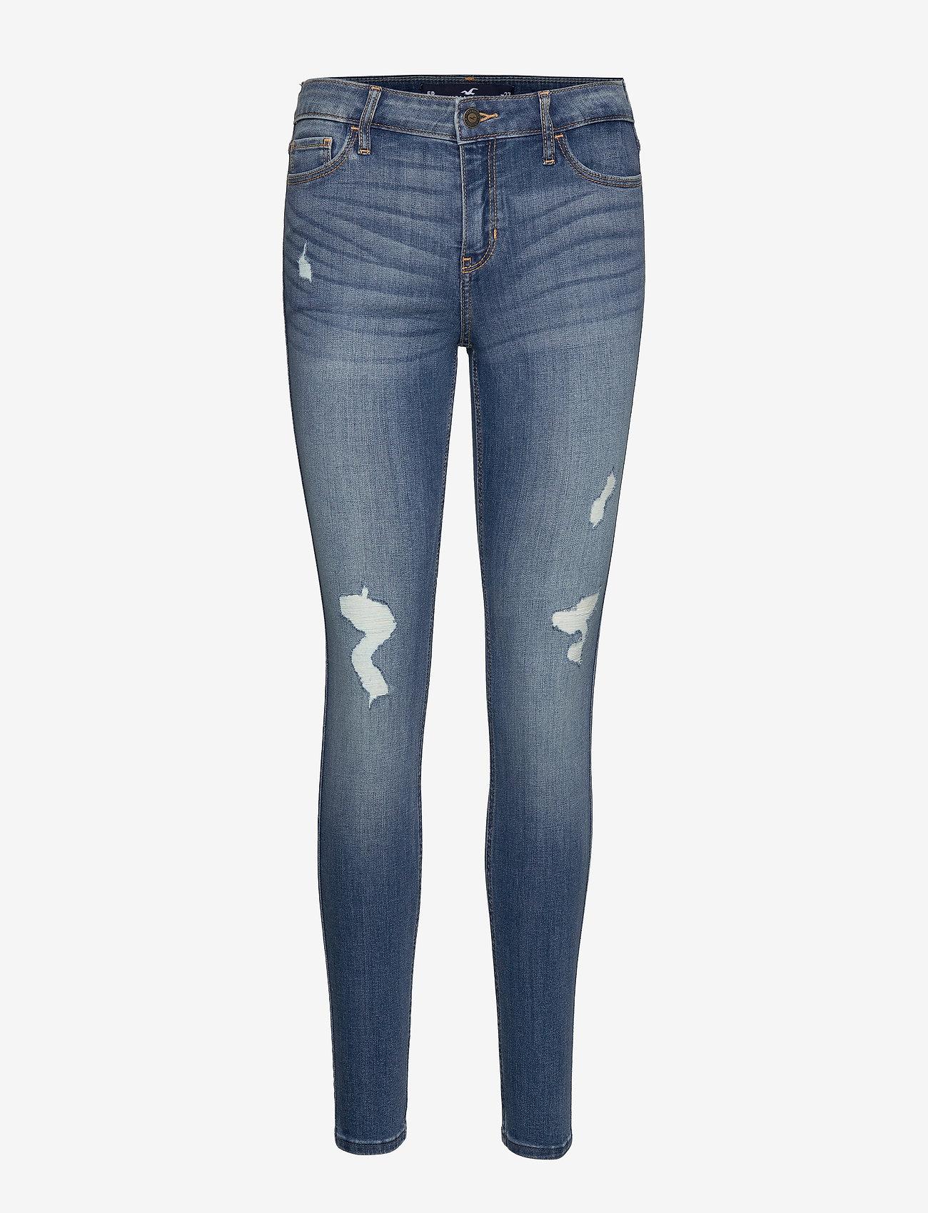 Hollister - Medium Rise Super Skinny - skinny jeans - medium destroy - 0