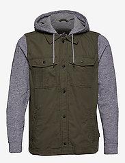 Hollister - Twofer Jacket - podstawowe koszulki - olive dd - 0