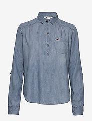 Hollister - Chambray Popover - jeansblouses - medium - 0