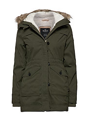 Teddy Lined Parka - OLIVE DD